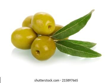Olives on twig isolated on white background