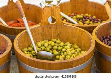 olives for sale at a market