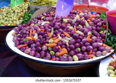 Olives for sale in the medina of Fes, Morocco, Africa