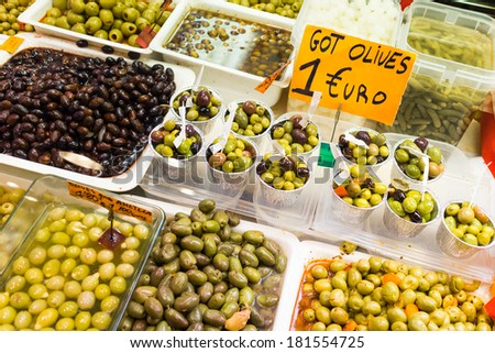 299aa15c7b5 Olives Shop La Boqueria Market Barcelona Stock Photo (Edit Now ...