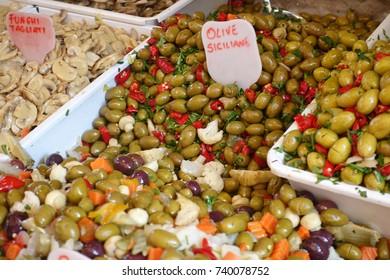 Olives in a sicilian market