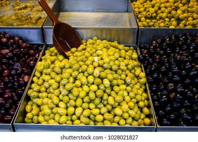 Olives sold at Mahane Yehuda Market in Jerusalem, Israel