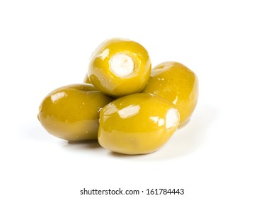 olives stuffed with soft cheese isolated on white background