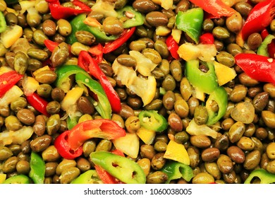 Olives with sweet pepper and lemon