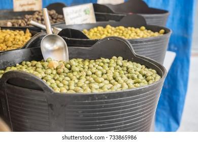 Olives at a traditional medieval fair in Alcalá de Henares, Madrid, Spain