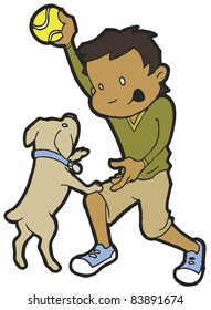 Olive-skinned boy being healthy and active by playing ball with dog.