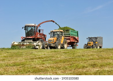 Olivet, France - 13 mars 2021 : Corn silage site intended for cattle feed