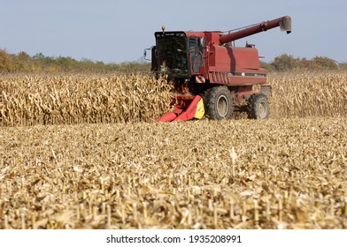 Olivet, France - 13 mars 2021 : harvesting corn with a combine harvester