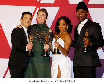 Olivia Colman, Mahershala Ali, Regina King and Rami Malek at the 91st Annual Academy Awards - Press Room held at the Hollywood and Highland in Los Angeles, USA on February 24, 2019.
