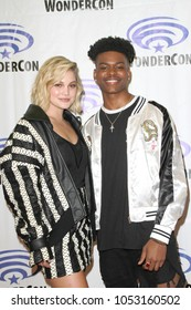 Olivia Holt and Aubrey Joseph attend day one of the 32nd Annual WonderCon Convention in Anaheim, CA on March 23, 2018.