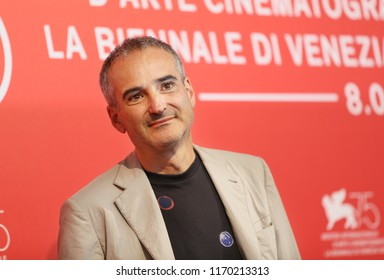 Olivier Assayas attends 'Doubles Vies (Non Fiction)' photocall during the 75th Venice Film Festival at Sala Casino on August 31, 2018 in Venice, Italy.