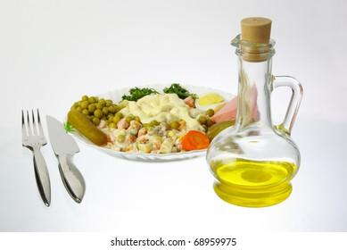 Olivier salad  and olive oil