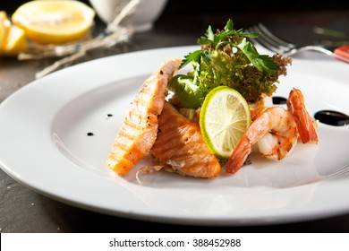 Olivier Salad with Shrimp and Salmon