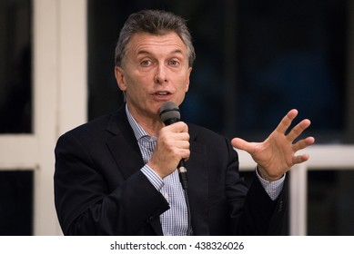 Olivos, Argentina - May 6, 2016: President of Argentina Mauricio Macri during a press conference for the foreign press at the presidential residence in Olivos, Buenos Aires on May 6, 2016.