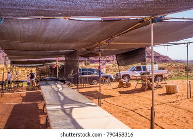 Oljato-Monument Valley, Arizona / USA - June 21 2017: Monument Valley Navajo Tribal Park. Tourist attractions Monument Valley. Excursions and souvenir stalls in the Valley of Monuments.