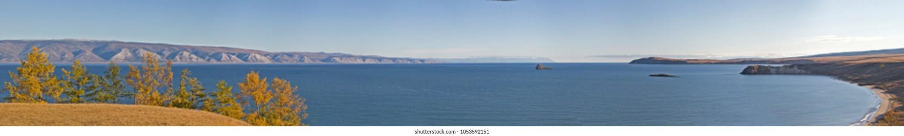 Olkhon Island in Lake Baikal, Siberia, Russia. Panorama.