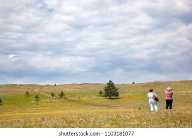 OLKHON, RUSSIA-July 28, 2010: Tourists travelling in Olkhon Island, Siberia, Russia, on July 28, 2010