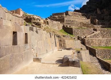 Ollantaytambo Inca ruins in Ollantaytambo town, Peru.