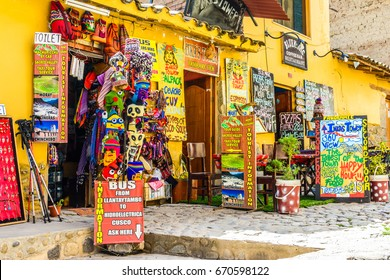 OLLANTAYTAMBO, PERU - 27 APRIL 2017: Small business on the streets of the small, medieval city of Ollantaytambo