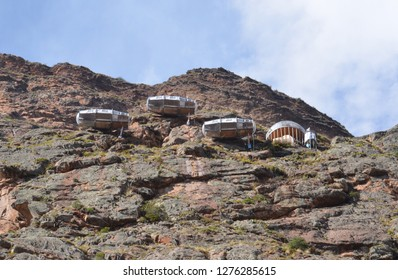 OLLANTAYTAMBO / PERU, August 15, 2018: View of Naturavive Skylodge Adventure Suites near Ollantaytambo from the highway.