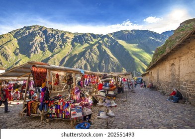 OLLANTAYTAMBO, PERU - DECEMBER 09: Old Inca fortress and market in the Sacred Valley in the Andes mountains of Cusco, December 09, 2011 in Ollantaytambo, Cusco, Peru