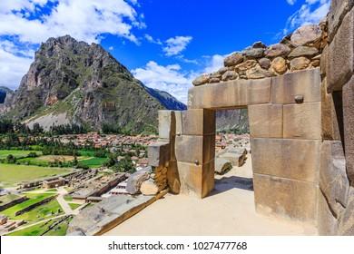 Ollantaytambo, Peru. Inca Fortress ruins on the temple hill.