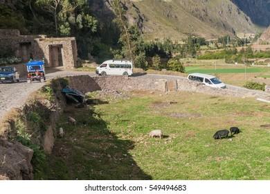 OLLANTAYTAMBO, PERU - MAY 20, 2015: Road to Ollantaytambo village, Sacred Valley of Incas, Peru