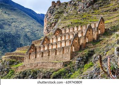 Ollantaytambo, Peru. Pinkuylluna, Inca storehouses in the Sacred Valley.