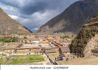 Ollantaytambo, Peru - Sep 17, 2018: View of the town Ollantaytambo in Sacred Valley of Peru. It is popular tourist attraction because of the Inca archaeological site there.