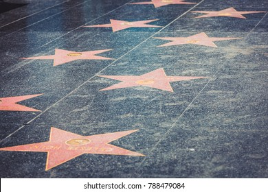OLLYWOOD, LOS ANGELES - Jul 29, 2017: Hollywood stars on the Walk of Fame in Los Angeles, California, on July 29, 2017 in Hollywood, California.