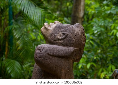 Olmec ancient sculpture Monkey in La Venta park, Villahermosa, Tabasco, Mexico