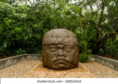 Olmec big basalt head - Villahermosa, Mexico