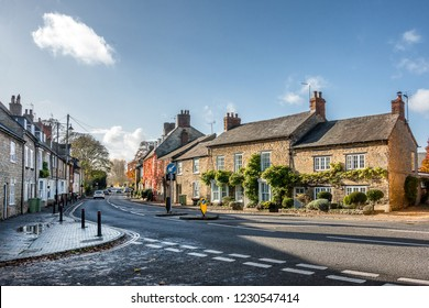 Olney high street in the county of Bedfordshire England