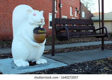 Olney, Illinois - February 1 2015: A white squirrel statue. Olney is famous for its albino white squirrels.