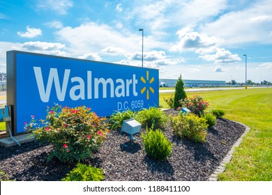 OLNEY, ILLINOIS - SEPTEMBER 11, 2018 - Entrance sign to Walmart Distribution Center in Olney, IL
