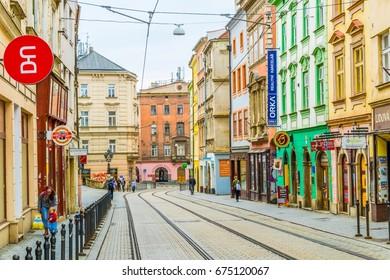 OLOMOUC, CZECH REPUBLIC, APRIL 16, 2016: View of a street in the center of the czech city Olomouc.