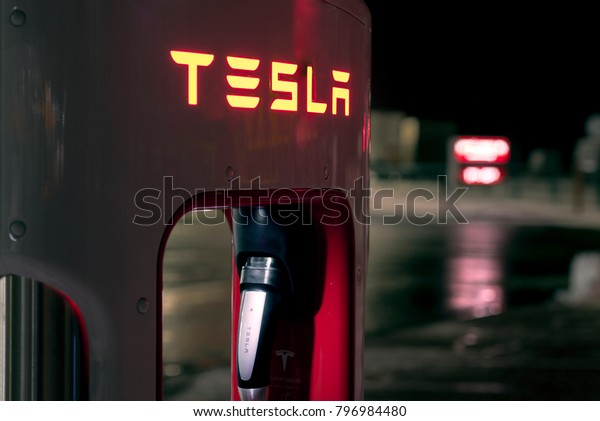 Olomouc Czech Republic January 16th 2018 - Detail of a Tesla rapid charger at night.