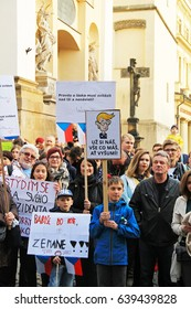 OLOMOUC, CZECH REPUBLIC – MAY 10: people protesting on demonstration against minister Andrej Babis and president Milos Zeman in Olomouc, Czech Republic, May 10, 2017