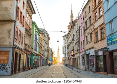 OLOMOUC, CZECH REPUBLIC - OCTOBER 14, 2018: Saint Wenceslas Cathedral seen from the distance in the historic city center in Olomouc, Czech Republic