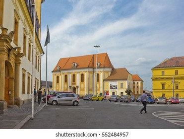 OLOMOUC, CZECH REPUBLIC - SEPTEMBER 15, 2016: Small square in the center of old town