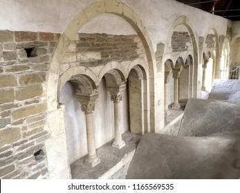 OLOMOUC, CZECH REPUBLIC – SEPTEMBER 7, 2017: arches and columns at the Romanesque Palace (Zdikuv palac) at Saint Wenceslas Cathedral