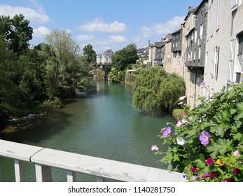 Oloron Sainte Marie, view from bridge onto Gave d'Aspe river