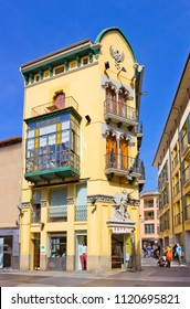 OLOT, SPAIN - APRIL 26, 2018: Art nouveau building in the center of the city