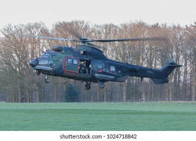 Olst Feb 13 2018: Amry and Air Force helicopter exercise. Cougar landing