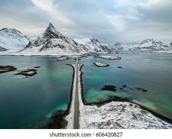 Olstind mount and bridge from above, Lofoten Islands in winter, Norway