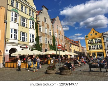 Olsztyn, Poland - August 24, 2017: Townhouses on the market square in old part of Olsztyn, Masuria region of Poland