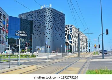 OLSZTYN, POLAND - AUGUST 4, 2018 - Galeria Warminska shopping centre designed by Kurylowicz & Associates with a new tramway line