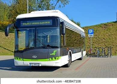 OLSZTYN, POLAND - SEPTEMBER 8 - Electric Urbino bus, manufactured by the Polish company Solaris Bus & Coach, which actively enters the electromobility market, on September 8, 2016 in Olsztyn, Poland