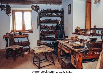 Olsztynek, Poland - August 19, 2010: Interior of historical shoemaker workshop in heritage park in Olsztynek town of Olsztyn County in Warmia-Mazury Province, Poland