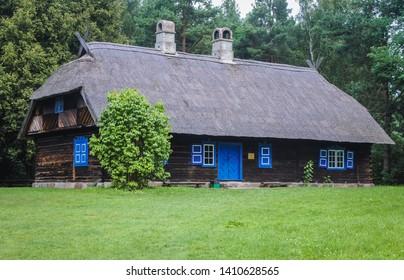 Olsztynek, Poland - August 19, 2010: Traditional Lithuanian cottage in heritage park in Olsztynek town, Warmia-Mazury Province of Poland